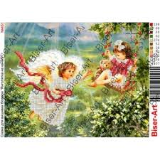 ВА-<b>0451</b> (А4) Ангелы на качелях. Схема для вышивки бисером ...