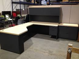 black l shaped desk with hutch plus storage and computer stand for home office furniture ideas bush desk hutch office