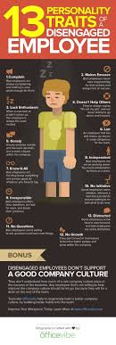 personality traits of a disengaged employee infographic