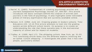 Get an APA Annotated Bibliography Template   Annotated     Annotated Bibliography APA apa article annotated bibliography template