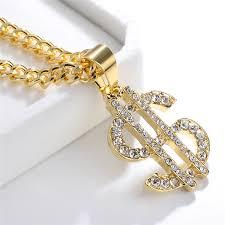 Gold <b>Us Dollar</b> Sign Crystal Necklace <b>Hip Hop</b> Dance Charm Chain ...