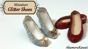 Miniature Sparkly Glitter <b>Doll Shoes</b> - Polymer clay & fabric tutorial ...