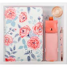 <b>Never</b> Korean Floral A5 Notebook Personal Diary Pink Pencil Bag ...
