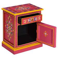 Festnight <b>Bedside Cabinet Solid Mango</b> Wood Turquoise/Pink Hand ...