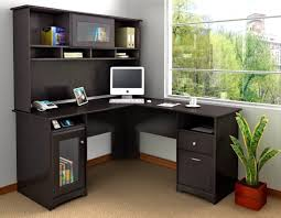 cozy home office with awesome corner desk ikea and glass bookcase door plus large window idea awesome ikea home office