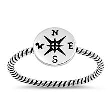 Compass Oxidized Pirate Rope Dainty Ring <b>New 925 Sterling Silver</b> ...