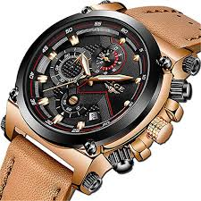 LIGE Men's Fashion Sport Quartz Watch with Brown ... - Amazon.com