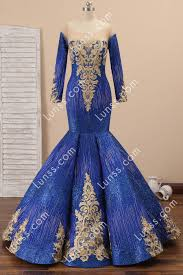 <b>Sparkly Royal Blue Lace</b> Long Mermaid Prom Dress - Lunss