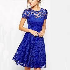 Hot Sale <b>2015 New Fashion Casual</b> Round Neck Lace Blue Dress ...