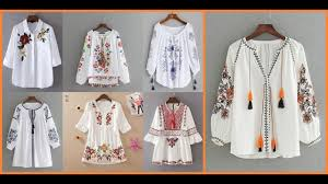 Stylish Embroidered White <b>Blouses</b>=<b>Casual Cotton Tops</b> Ideas 2019 ...