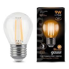 Светодиодная <b>лампа Gauss LED Filament</b> Шар E27 9W 680lm ...