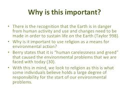 religion and the environment   why is this important