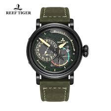 <b>Reef Tiger</b>/<b>Rt</b> Black Steel <b>Military Watches</b> For Men Genuine Leather ...