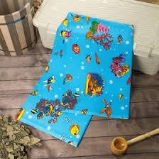 <b>Полотенце</b> вафельное <b>банное</b> Рыбки голубой <b>80х150 см</b>, хлопок ...