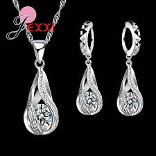 <b>New</b> Water Drop CZ Jewelry <b>Sets 925</b> Sterling Silver ...