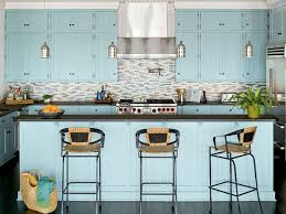 cool light blue kitchen cabinets ocean hues kitchen myhomeideas blue cabinet kitchen lighting