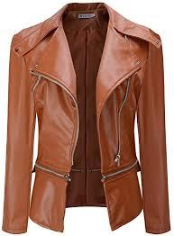 Gergeos <b>Womens</b> Pu <b>Leather</b> Jacket Winter <b>Long</b>-<b>Sleeved</b> Lapel ...