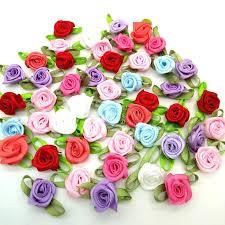 100pcs <b>Mix color</b> ribbon <b>rose handmade</b> flowers garment supplies ...