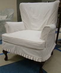 Interior White Fabric Chair Slipcover With Back And Double Arms Also Four Dark Brown Wooden  U