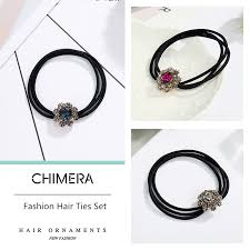 <b>CHIMERA Crystal Flower Hair</b> Elastic Ties 3Pcs Three Layer Rubber ...