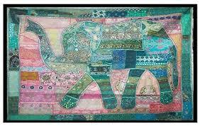 Elephant Wall Hanging <b>Patchwork</b> Big Tapestry <b>Beaded</b> Hand ...