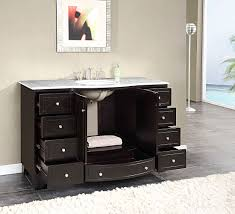 55 inch double sink bathroom vanity: silkroad  inch single bathroom vanity carrara white marble top silkroad  inch single bath vanity carrara white marble top