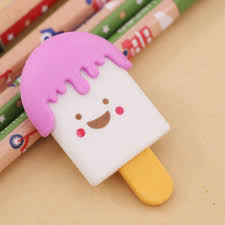 Cartoon Face Eraser <b>Kawaii Ice Cream</b> Shape Pencil Erasers ...