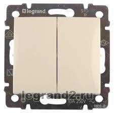 774305 <b>Выключатель двухклавишный Legrand Valena</b> (слоновая ...