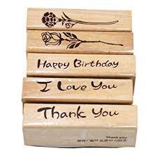 Youkwer 5Pcs Cute DIY Wooden Rubber Stamps ... - Amazon.com