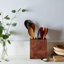 kitchen utensil: walnut kitchen utensil holder beab bc fd bc ceaccfafce   cliff spencer wooden utensil box mid