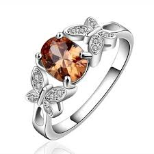 <b>yueyin 925 sterling silver</b> plated butterfly crystal zircon ring for ...