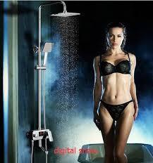 thermostatic brand bathroom: dofaso lcd digital thermostatic shower set water power thermostatic shower mixer faucetsquare rain shower