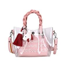 China <b>Hot Sale Fashion</b> PVC Transparent Plastic Bags <b>Tote</b> ...