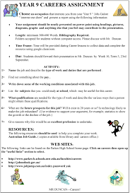 year careers assignment parkes high school year 9 careers research assignment