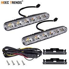 <b>1Pair</b> White Amber Flowing LED DRL Turn Signal Light <b>Dual Color</b> ...