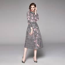 Retro Long Sleeve Print Waist Temperament Dress ... - SUNSKY