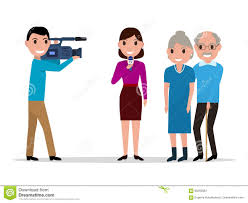 cartoon journalist interviewing elderly stock vector image  cartoon journalist interviewing elderly