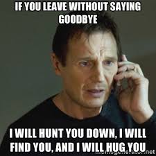 If you leave without saying goodbye I will hunt you down, I will ... via Relatably.com