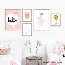 Nordic Style <b>Kids Decoration Ballet Poster</b> Pink Swan Wall Art ...