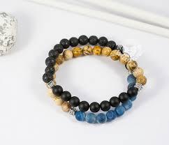 BS658 Двойной <b>мужской браслет</b> из шунгита, лавы, яшмы и ...