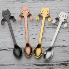 <b>Cute</b> Cat Teaspoons <b>Stainless Steel</b> Cartoon Cat spoons <b>Creative</b> ...