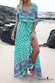 Hot <b>Fashion Bohemian Style</b> Tribal <b>Printed</b> Maxi Beach Dress for ...