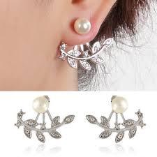 <b>trendy women</b> rhinestone leaf pearl silver <b>rose gold</b> earrings at ...