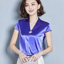 Korean <b>Fashion Silk Women Blouses Satin</b> V Neck Sleeveless Red ...