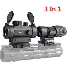 Luger <b>Tactical</b> 1x40mm Red Green Dot Sight + <b>3X Magnifier Scope</b> ...