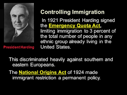 「president Harding immigration policy」の画像検索結果