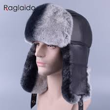 Raglaido winter mens fur hats made of real fur sheep skin Ushanka ...