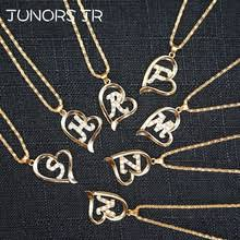 shinygem gold rainbow initial letter necklaces colorful crystal gem stone small a z pendant for women