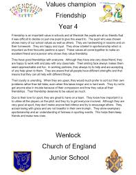 friendship wenlock church of england junior school year 4 value champion year 4 value certificate