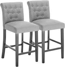 Set of <b>2 bar stools</b> with backrest made of linen dark gray Britta ...